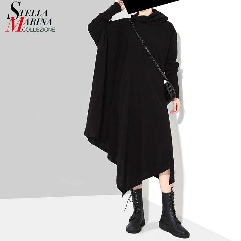 New 2018 Korean Style Women Winter Black Gray Knitted Sweater Dress Long  Sleeve Plus Size Stretchy 2075862061a8