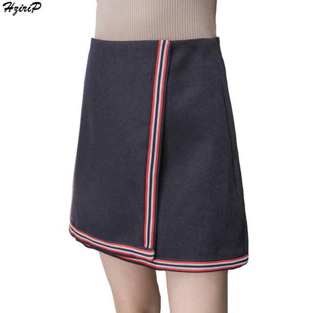 2017 Primavera New Arrival Moda Casual Mulheres Bodycon Saia Curta Listrada Cintura Alta Slim A Linha Mini Saia Das Senhoras Saia De Lã