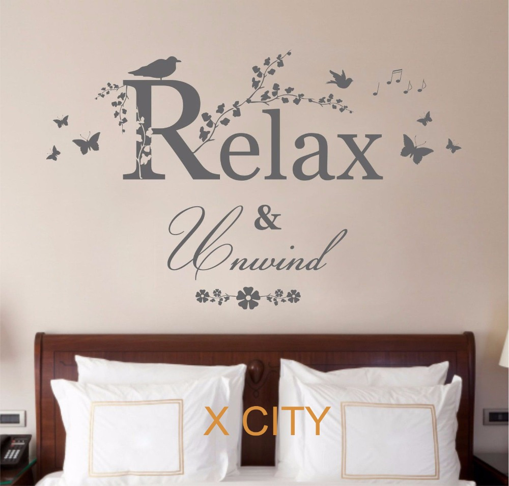 relax unwind quote creative vinyl wall decal art decor sticker room stencil mural s m l in wall. Black Bedroom Furniture Sets. Home Design Ideas