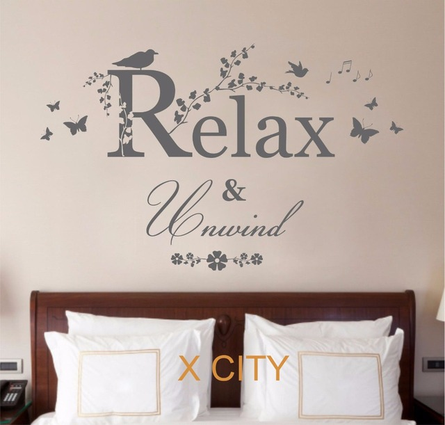 Relax unwind quote creative vinyl wall decal art decor sticker room stencil mural s m l