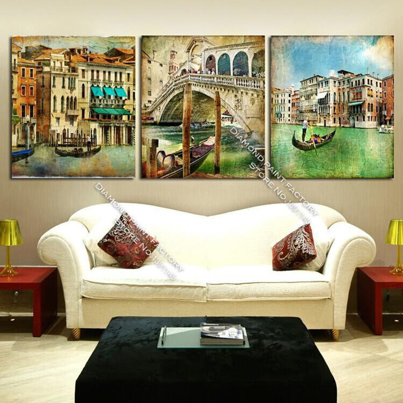 New Arrive Color Of Venice 3d Diy Diamond pattern Painting 3sets For Square Dill Embroidery Cross-stitch Drawing Decorative