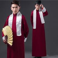 Men Ancient Costume Chinese Style Traditional Costumes Male Long Gown Old Shanghai Men's Clothes Vintage Robe