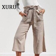 XURU summer new women's wide-leg trousers sexy straps high waist casual trousers with belt цены онлайн