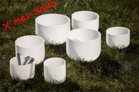 Chakra Tuned Set Of 7 Frosted Quartz Crystal Singing Bowl 6 12 FREE SHIPPING TO USA