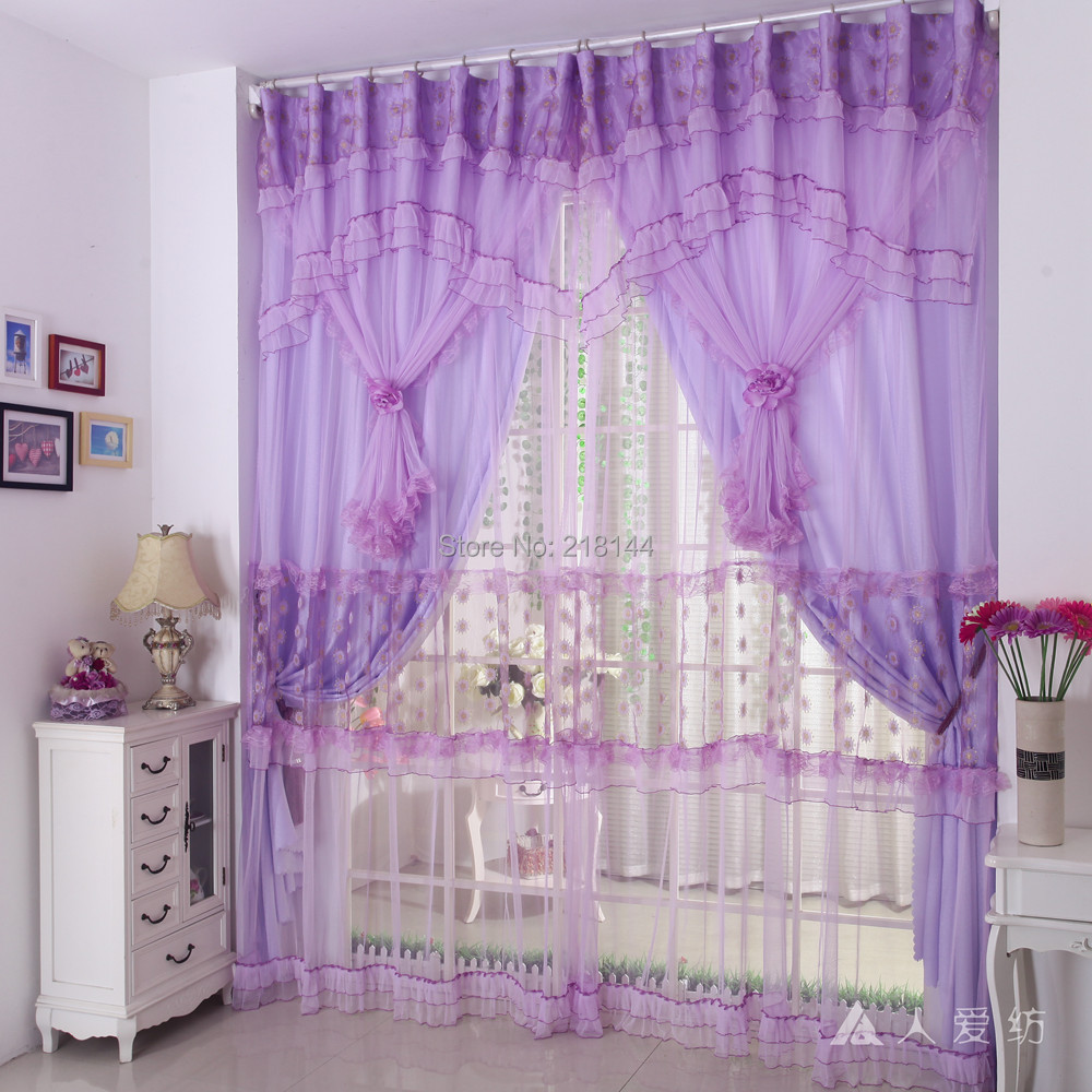 270x300cm New Finished Embroidery Design Curtains For Living Room Curtains Purple For Princess