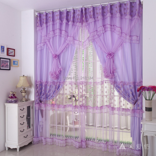 270X300cm New Finished Embroidery Design Curtains For Living Room Purple Princess Wedding Bedroom