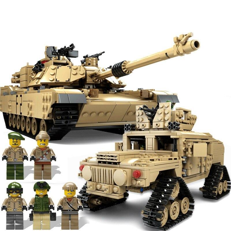 Bricolage militaire M1A2 réservoir briques Abrams bataille principale blocs de construction ensembles modèles 2in1 jouets bon pour les compétences des enfants