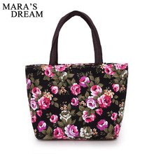 Mara's Dream Women Handbags Canvas Ladies Casual Tote Bag Floral Printing Female