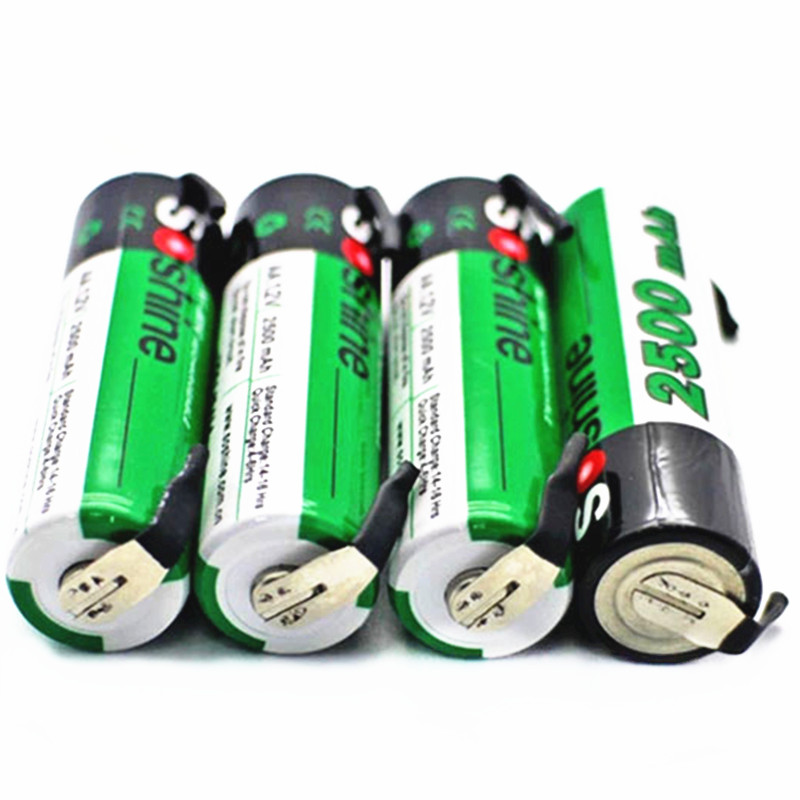 4 pcs Soshine AA NiMH 2500mAh 1.2V rechargeable battery with tab Spot welding battery