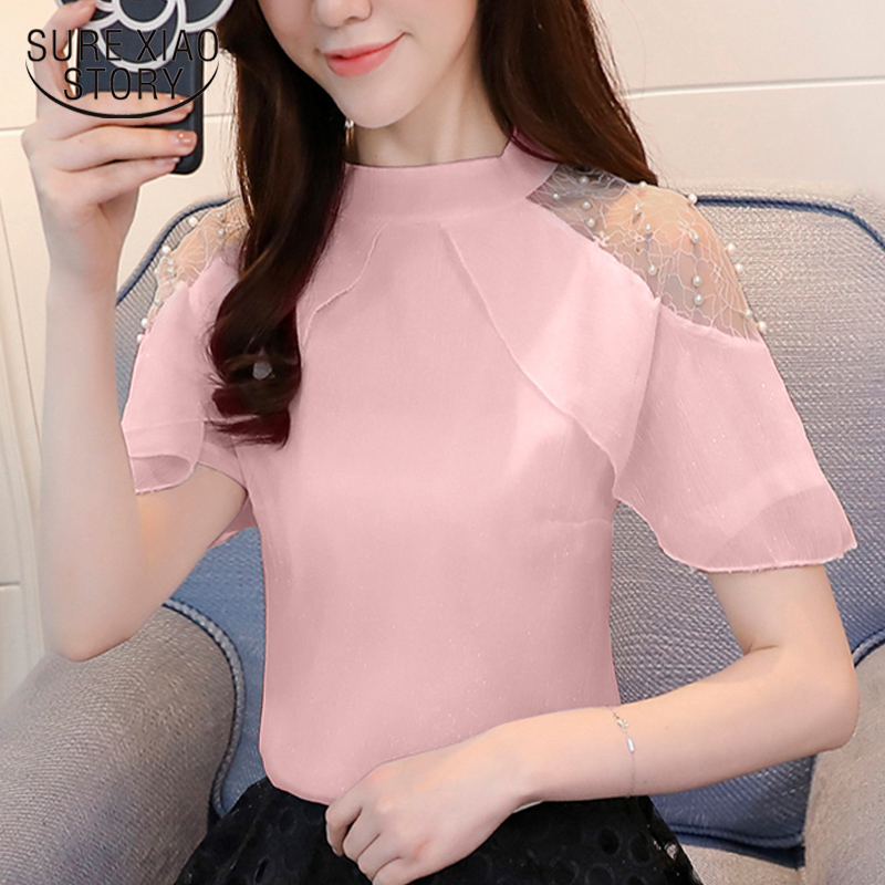 37c4486ac01d 2019 new fashion women clothing solid sexy lady style women tops short  sleeved blouses chiffon summer ...