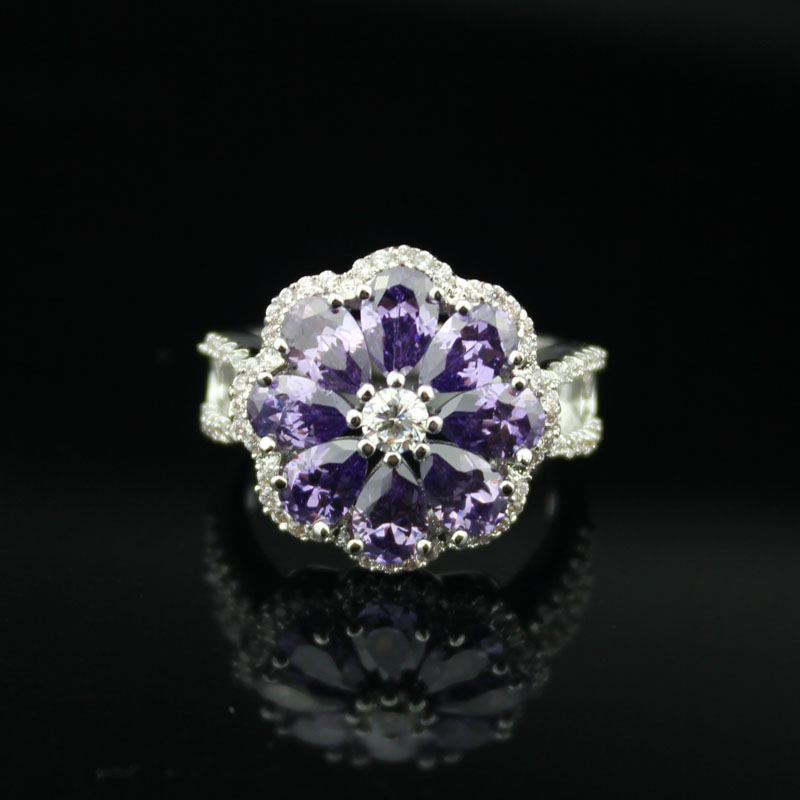 Inlay elegant pure purple Crystal rings Clear CZ stone secret wedding rings Cubic Zircon ...