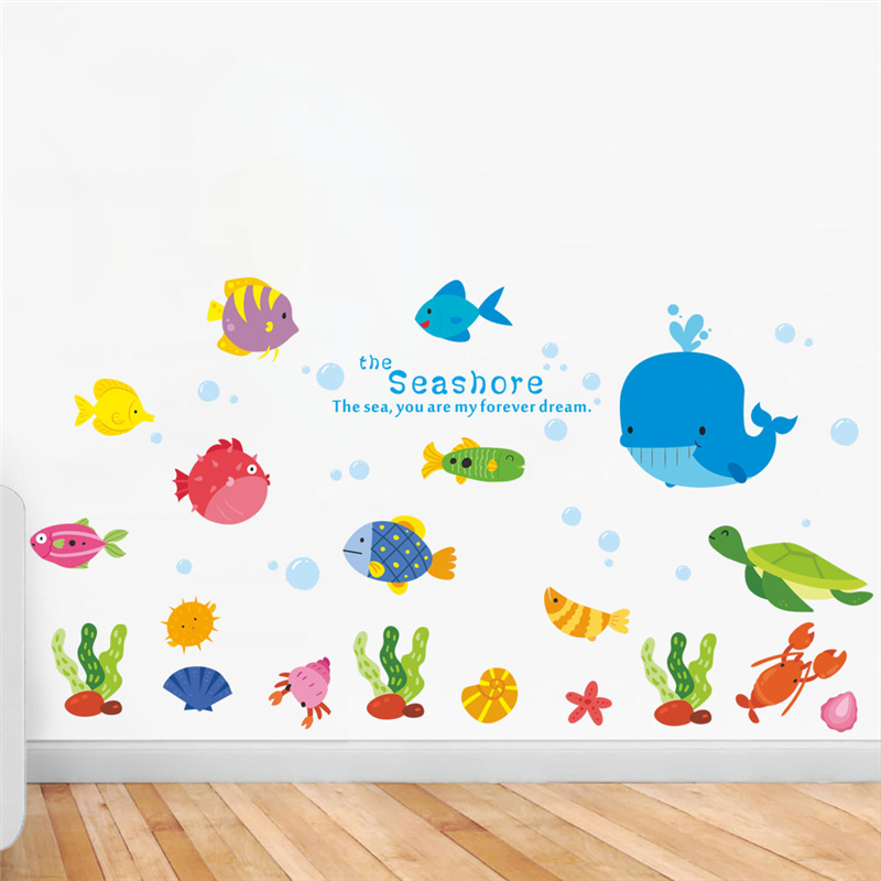 underwater fish bubble wall decals for kids rooms bathroom home decor pvc cartoon animals 30*90cm wall stickers pvc mural art
