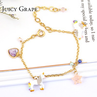 Juicy Grape Korean bracelet unicorn heart start bracelets gold plating women girl gift hand painted enamel bracelet