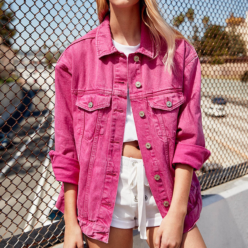 Women Out Street Wear Denim Jean Jacket Coat Clothes Woman Spring Pink Red Green Black Jeans Jackets Ladies Casual Style Coats|Jackets| |  - title=