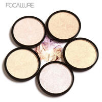 FOCALLURE 5 Colors Illuminator Brightening Face Pressed Highlighter Powder Easy to Wear for Face Shimmer