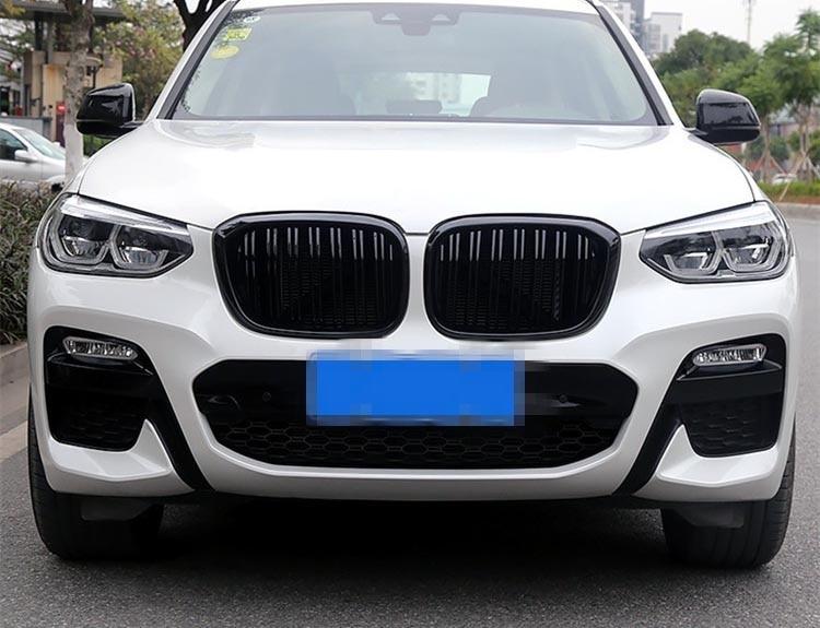 Grille de rein avant à double lamelles pour BMW X3 G01 X4 G02 Grille de course de pare-chocs X3 X4 xawai20i xDrive30i ABS noir brillant 2018 + - 2