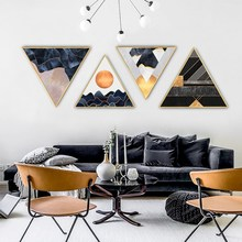 Nordic golden aspect bstract bedroom wall painting living room background corridor mural Hotel decorative