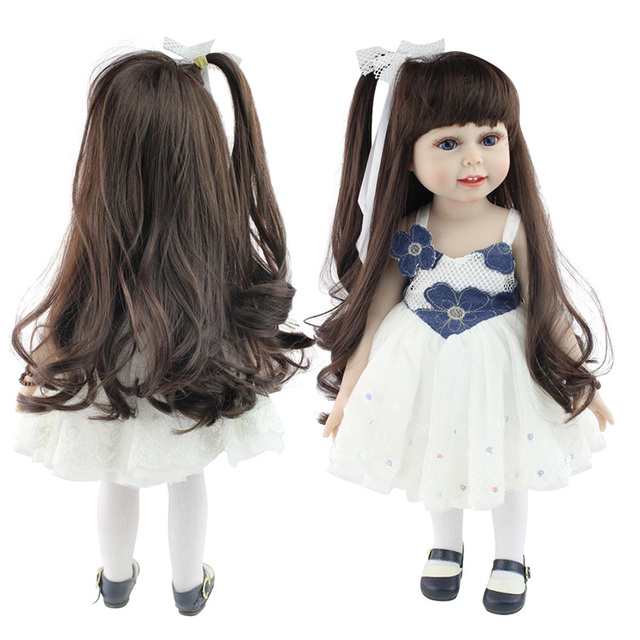18'' American Baby Doll Handmade Soft Silicone Vinyl Reborn Dolls Realistic Toddler Doll Toys for Children Christmas Collection 1