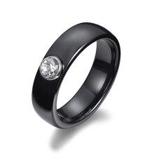 Anneaux en céramique de mode noir et blanc pour les femmes 6mm rond large  lisse bagues femme grand cristal cubique Zircon mariag. 2730ad06f73e