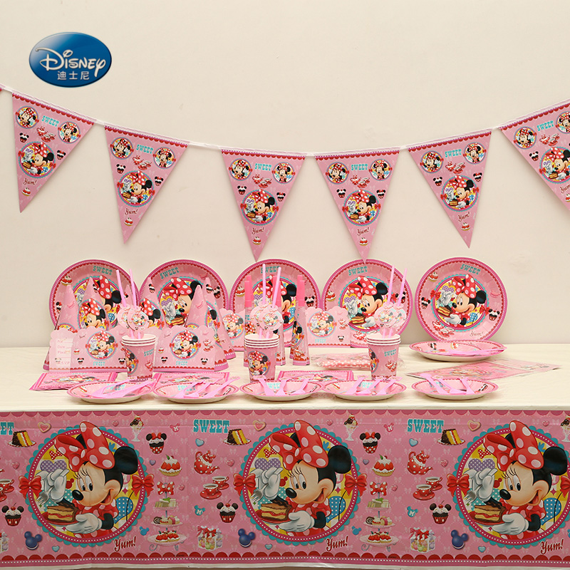 Suitable for 12 people Disney Minnie Mouse Disposable Tableware Set total 189 pcs/lot Children Birthday Party ornament Supplies-in Disposable Party Tableware from Home & Garden    1