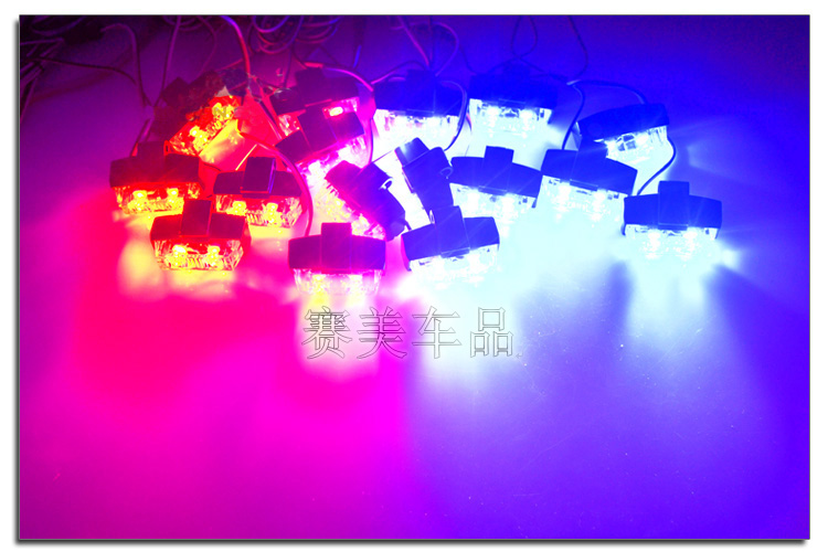 Free Shipping!!Red Blue Amber White 16x 2 LED Flash Emergency Strobe Car Grill Light Ultra Bright 32 LED 96W High Power Light 16x 2 car led flash emergency strobe warning grill light wireless control ultra bright 32 led 32w red blue amber white