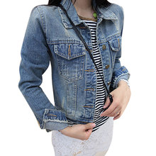 2017 Hot Sale Long Sleeve Vintage Slim Jacket Denim Women Coats Single Breasted Polo Collar Short Tops Jaqueta Jeans Feminina