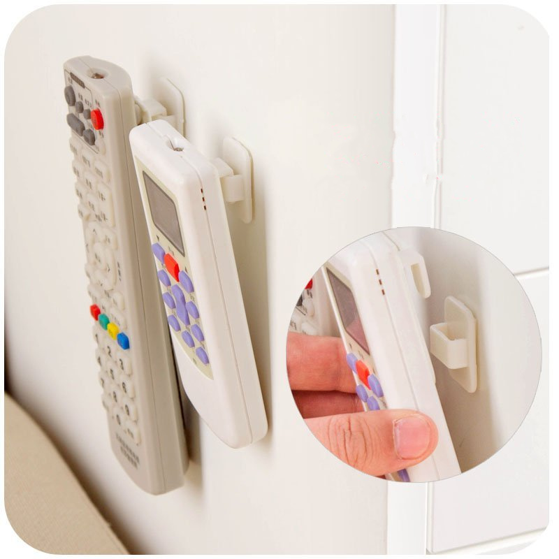 2 Set High Quality Self Adhesive Plastic Hooks Holder Remote Control Sticky Hook Hanger TV Air Conditioner Key Wall Storage.