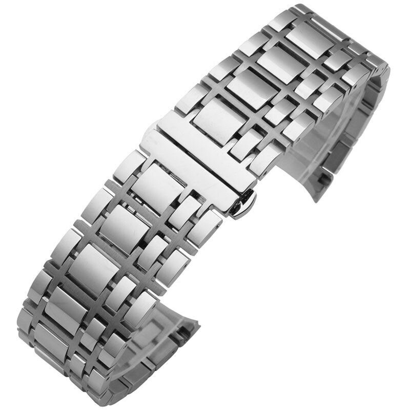 Free Shipping 16 mm/20 mm Stainless Steel Bracelet Watch Band Strap Curved End Solid Links For Burberry Watches все цены