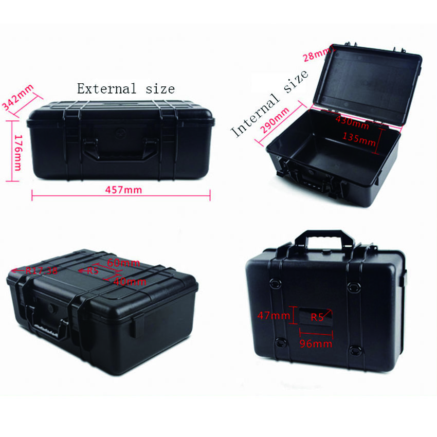 hard abs high impact plastic lightweight tool case without foam light weight black hard abs plastic storage tool case without foam