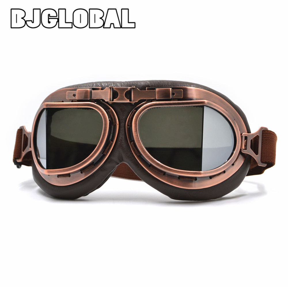 BJGLOBAL 2018 Motorcycle Goggles Vintage Pilot Motorbike Goggles Leather Jet font b Helmet b font Eyewear