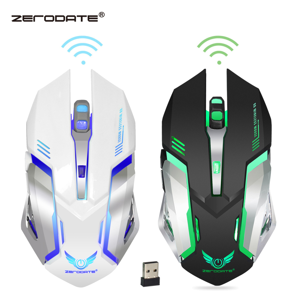 ZERODATE 2 4G Wireless Mouse Rechargeable Gaming Optical Mouse 2400DPI Mice For PC Laptop Computer Ergonomics