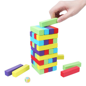 Image 4 - MITOYS 60 PCS colorful Wooden blocks Tower Blocks Toy Domino Stacker Board Game Family/Party Funny Extract Building Blocks