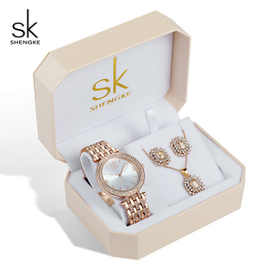 Image 1 - Shengke Rose Gold Creative นาฬิกาควอตซ์ผู้หญิงต่างหูสร้อยคอ 2019 SK Ladies นาฬิกาชุดเครื่องประดับหรูหราของขวัญ Relogio Feminino