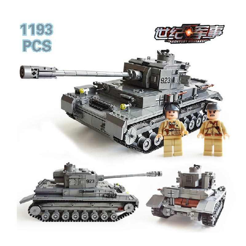 1193Pcs Militer Teknik Tentara Besar Panzer IV Tangki WW2 Blok Bangunan Set Legoings Playmobil Diy Batu Bata Mainan untuk Anak
