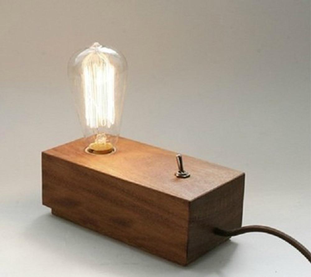 Magnificent Fashion Diy Bedroom Modern Edison Wooden Table Lighting 110V Interior Design Ideas Gresisoteloinfo