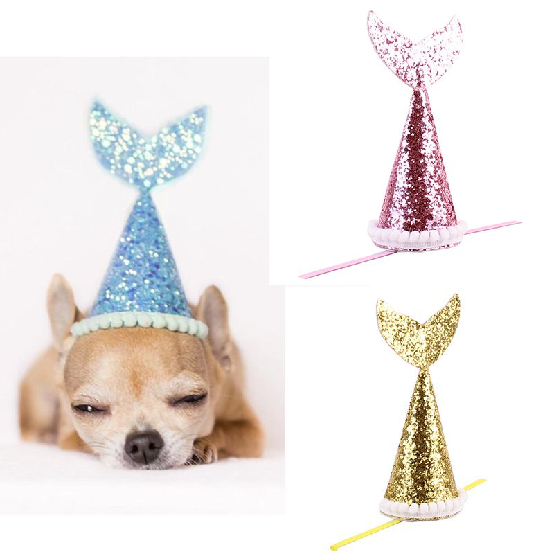 Pet Products Dog Hat Pet Birthday Party Cosplay Decorative Fish-tail Costume Dog Accessories For Small Dogs Best Gift For Dog Comfortable As Effectively As A Fairy Does Dog Caps
