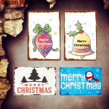 Merry Christmas Home Plaque Shabby Chic Metal Signs Bar Cafe Farmhouse Decorative Plates Wall Stickers Painting Decor MN63