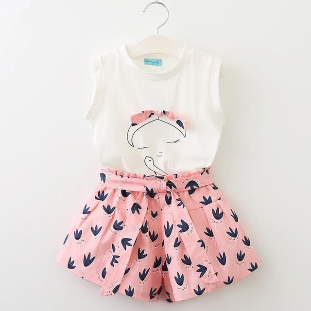 650a081fe53 2018 Girls Clothes Summer Style Tops Shorts 2pcs Kids School Cute Print Set  Kid School Sport Fashion Clothes Set Hot