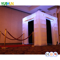 8ft with 2 doors Portable Photo booth 16 colors lighting inflatable photo booths props enclosure Black inside digital photobooth