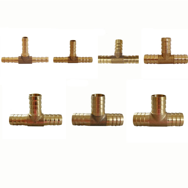 Hose-Fittings T-Shape Barbed-Coupling 10mm Brass 12mm 6mm Tee Copper 8mm 3-Way