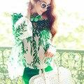 Fashion Women Hollow Lace Top Long Sleeve  Crochet Green Leaf Pattern Chiffon Tops