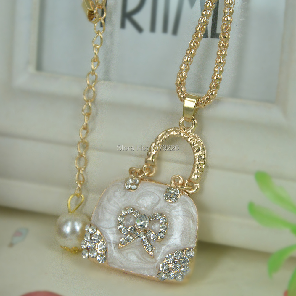 JT Bag Handbag Bead Sweater Necklace Jewelry Crystal For Women Long Necklace Pendants Rhinestone Chain Christma Valentines Gift