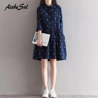 2017 New Spring Autumn Women Clothing Preppy Vintage Cartoon Printed Long Sleeve Plus Size Corduroy Dress
