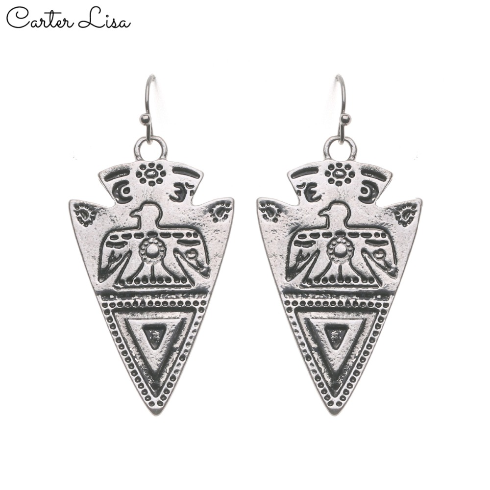CARTER LISA 2019 New Classic Vintage Simple Style Silver Triangle Drop Earrings Charming Women Pandent Earrings Jewelry