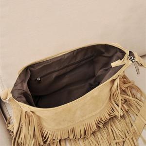 Image 5 - Croyance Vintage Bohemian Fringe Messenger Crossbody Bag Purse Women Tassel Handbag Solid Color