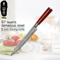 QING Brand Handmade VG10 Damascus Steel Knife 8 inch Kitchen Knives High Quality 67 Layers Of Damascus Steel Slicing Knife