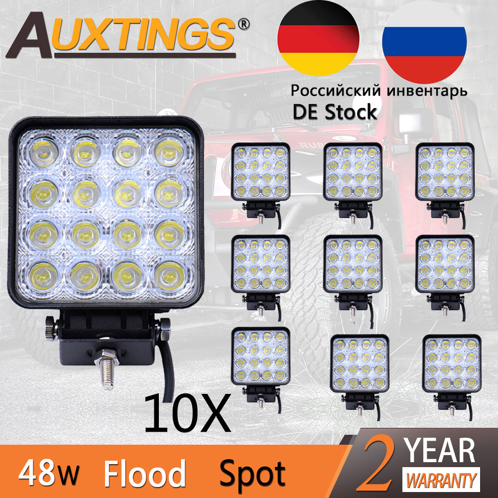 Auxtings 5 Pairs Waterproof 6500K Aluminum Housing Wide Beam Spot Beam 48W LED Work Light 4 inch Fog Lights LED Light Beam поло quiksilver cruzl quiet shade