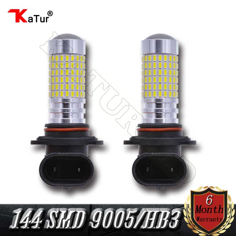 1 Pair 9005 HB3 Led Bulbs For Cars 144 SMD 1500Lm Super Bright HB3 Led Bulbs with Projector for DRL or Fog Lights Xenon White