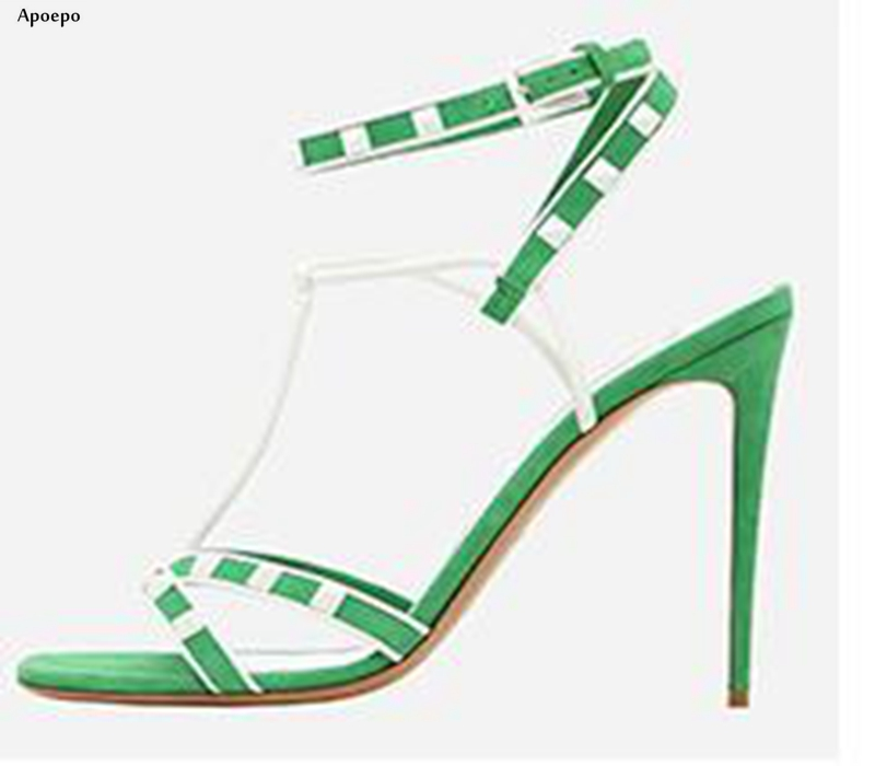 Apoepo 2018 Summer Newest Thin Heels Sandal for Woman Sexy Open Toe Rivets Studded Ankle Strap Shoes Gladiator Sandal 2017 newest summer black brown leather sandal for woman sexy open toe flat crystal sandal sequins bead t strap buckle shoes