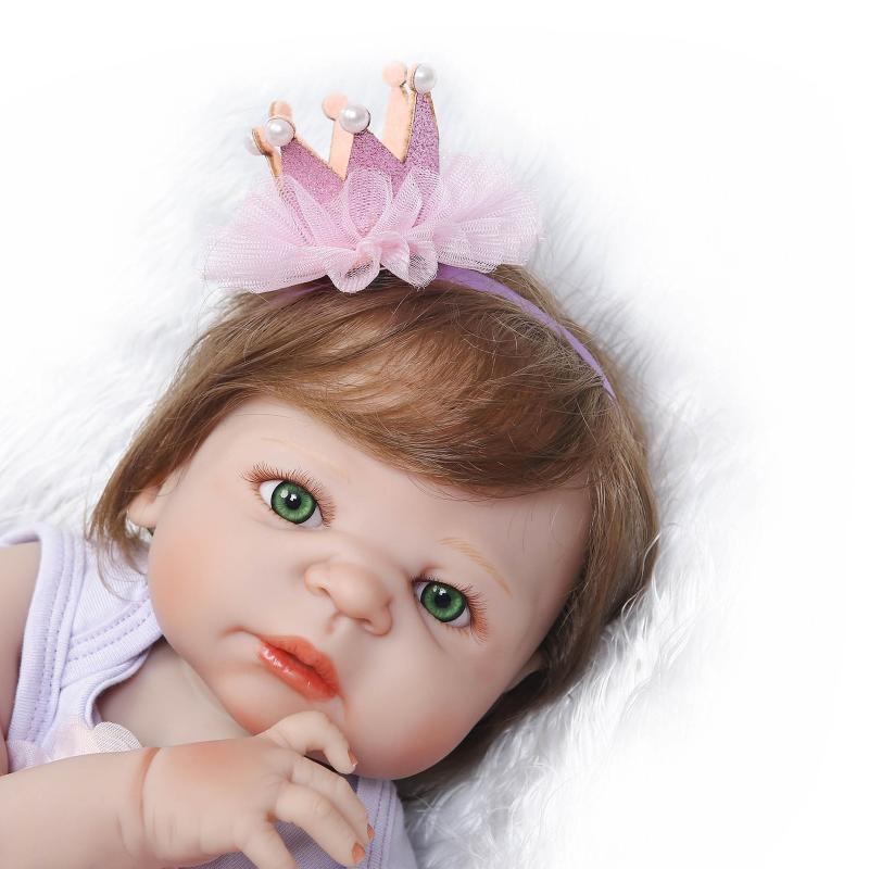 22 inch NPK Volledige Siliconen Lichaam Bebe Reborn Meisje Pop Echte Alive Prinses Baby Speelgoed In Mooie Dressing Leuke Gift kinderen Spelen Speelgoed-in Poppen van Speelgoed & Hobbies op  Groep 2